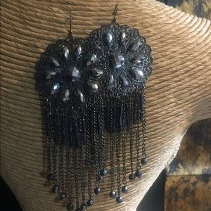 Fashion Pewter chandelier Earrings.